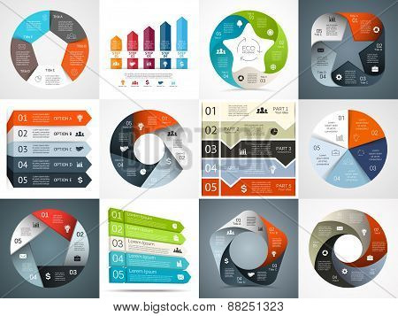 Vector infographics templates set. Template for cycle diagram, graph, presentation and round chart.
