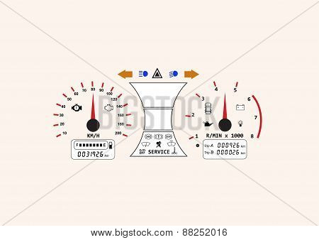 Automotive Icon Car Dashboard Vehicle Speedometer Concept