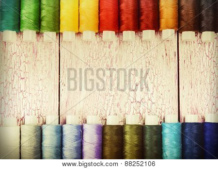 Bobbins With Colorful Threads