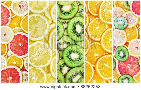 Collage With Fruit Slices Fresh