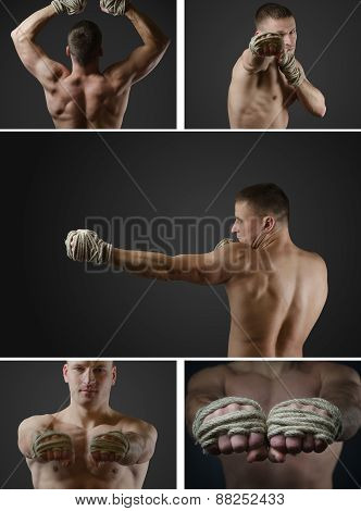 Set Photos Of A Young Thai Boxer