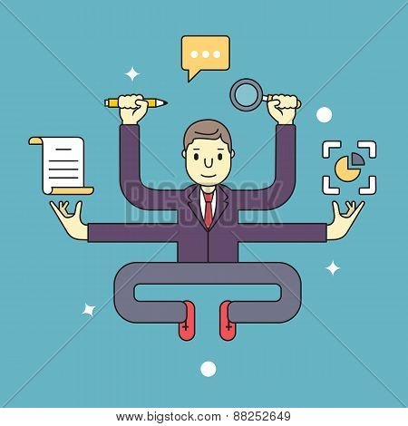 Concept Of Multitasking Businessman Who Works With More Arms. Management And Multitasking