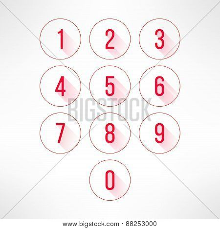 Numbers in circles set in modern flat design. Digits with long shadows. Vector illustration.