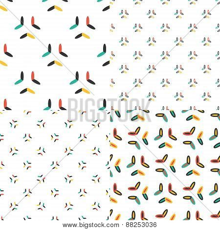 Oval seamless patterns set in modern clean and simple design. Geometrical texture background. Vector