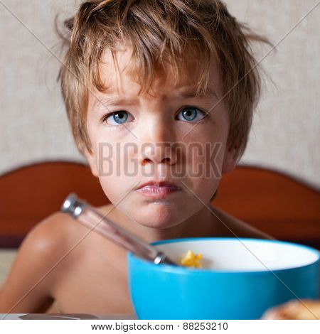 Portrait Of Unhappy Boy, Not Eating