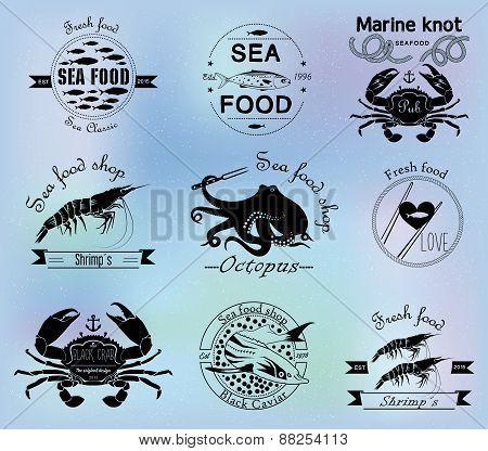 Sea food labels, badges and design elements