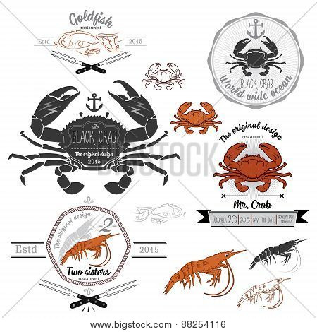 Set of vintage seafood labels and design elements