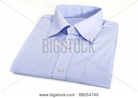 Blue Male Shirt, Folded Neatly, Isolated on White Background