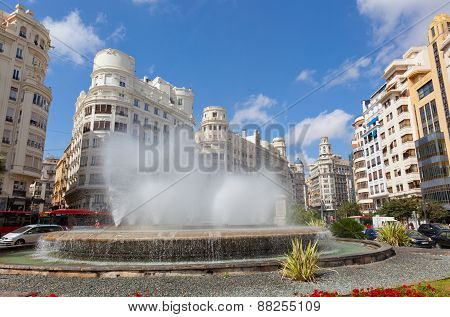 Fountain On One Of The Central Streets Of Valencia.