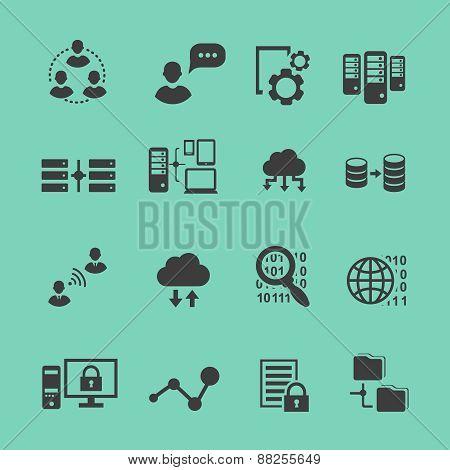 Big Data  analysis  black icons set,  data analytics cloud computing