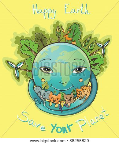 Vector Cartoon Happy Earth With Trees And Animals. Save Your Planet.