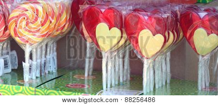 Sweet Heart Shaped And Swirl Candies