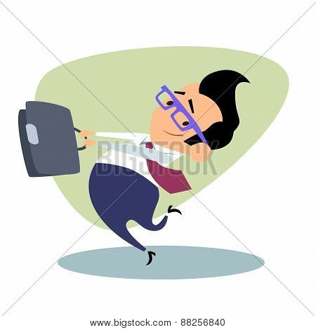 Businessman Throwing The Portfolio As A Hammer Business Theme Sp
