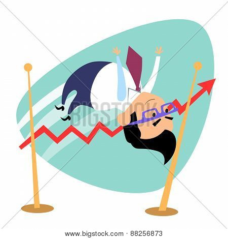 Businessman Jumps The Bar Graph Of Sales Business Theme Sports
