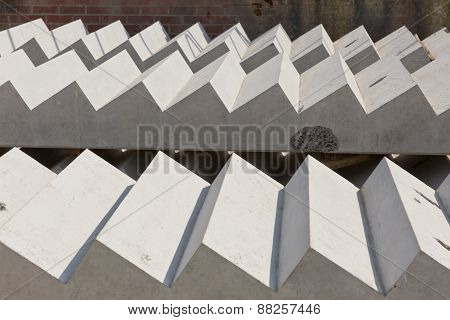 Concrete Stair Slabs on a construction site with a brick background
