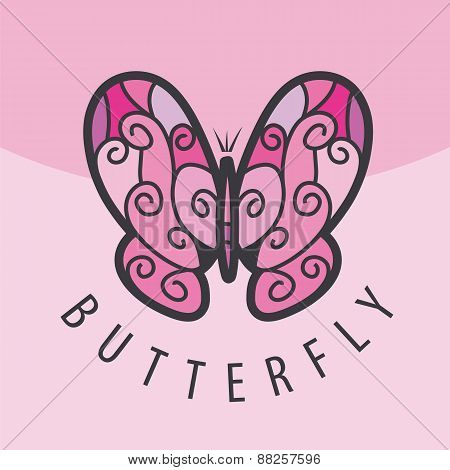 Vector Logo Pink Butterfly On The Background