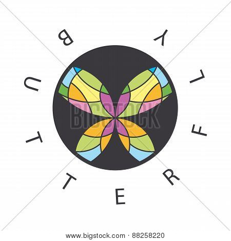 Vector Logo Abstract Butterfly In The Circle