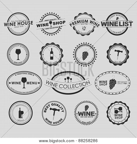 Set Of Vintage Wine Logo