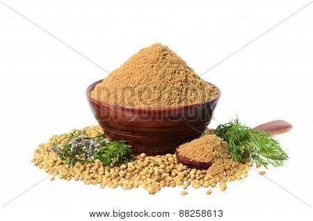 Coriander seeds, Fresh Coriander and Powdered coriander