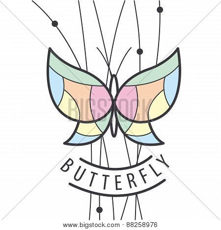 Vector Logo Butterfly Perched On Branches