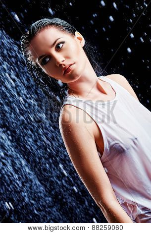 Portrait Of Beautiful Young Girl In Water Studio