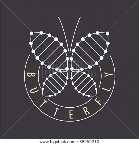 Vector Logo Abstract Tech Butterfly
