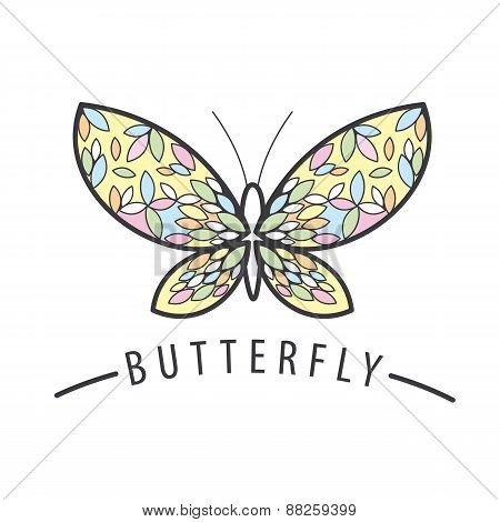 Elegant Butterfly Vector Logo Of The Petals