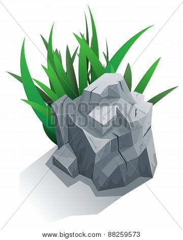 Single stone with grass
