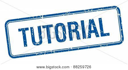 Tutorial Blue Square Grungy Vintage Isolated Stamp
