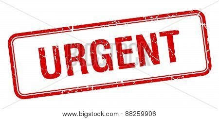 Urgent Red Square Grungy Vintage Isolated Stamp