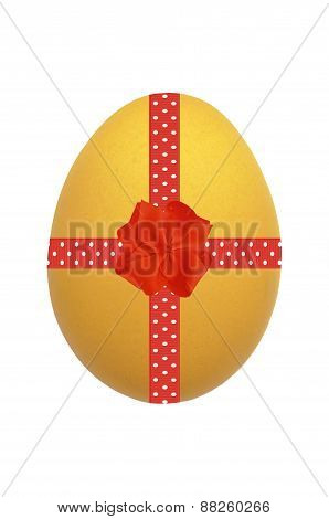 Yellow Easter Egg With Red Ribbon And Bow Isolated On White