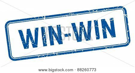 Win-win Blue Square Grungy Vintage Isolated Stamp