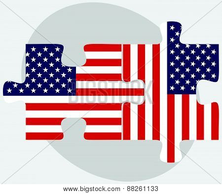 Usa And Usa Flags In Puzzle