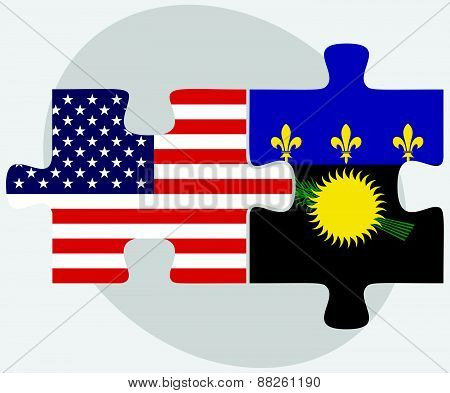 Usa And Guadeloupe Flags In Puzzle