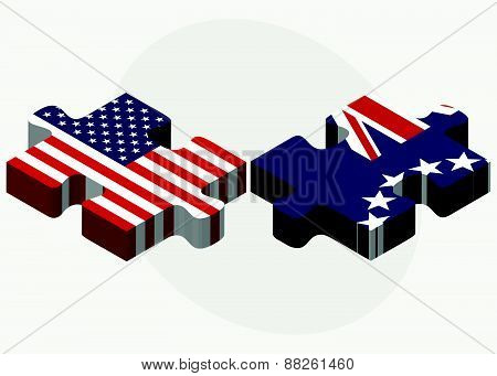 Usa And Cook Islands Flags In Puzzle