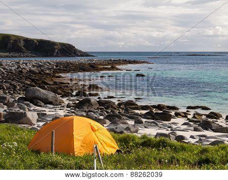 tourist tent on ocean beach