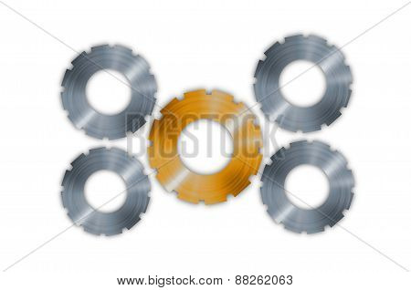 Metal Gears Cogs Isolated On White Background