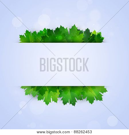 Abstract Notice With Green Leaves