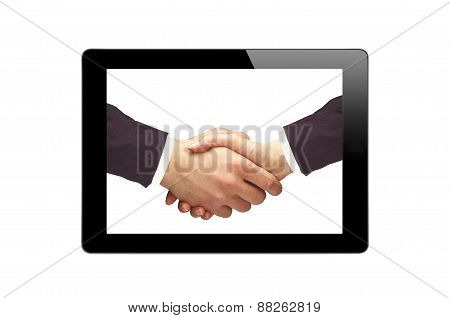 Black Touch Screen Tablet And Handshaking