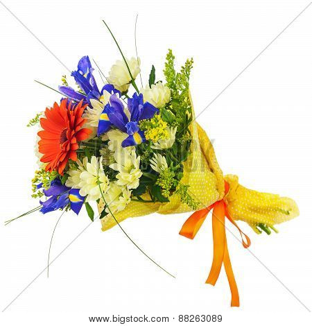 Flower Bouquet From Gerbera, Iris And Other Flowers Isolated.
