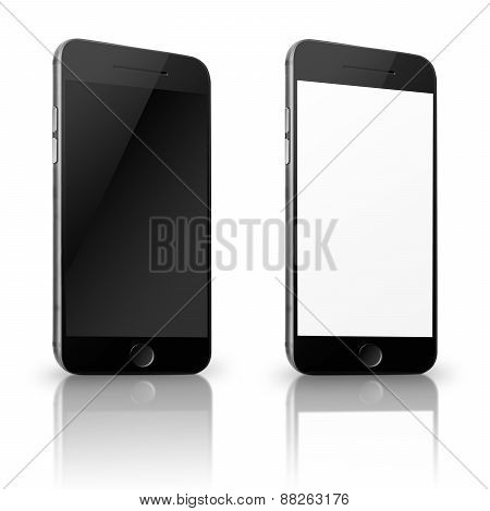 Mobile Smart Phone With White And Blank Screen Isolated On White Background.