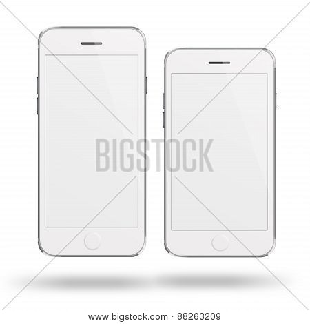 Mobile Smart Phones With White Screen Isolated On White Background.