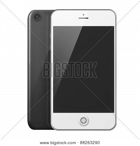 Front And Back View Of Mobile Smart Phone With Black Screen.