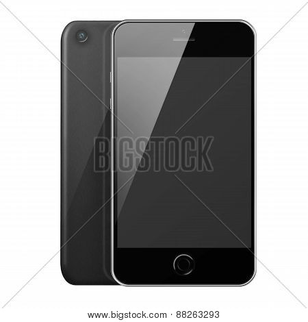 Front And Back View Of Mobile Smart Phone With Blank Screen .