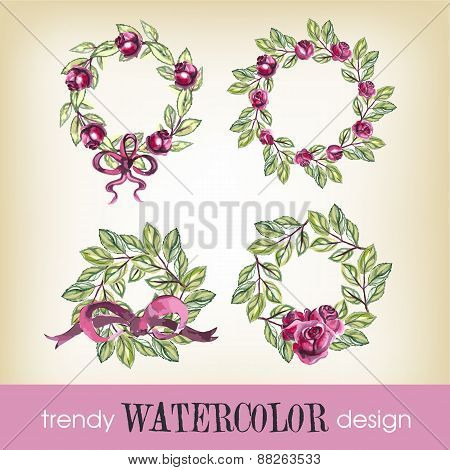 Watercolor Set of Four Rose Whreaths.Trendy Design.