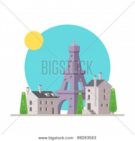 Flat Design Of Eiffel Tower France With Village