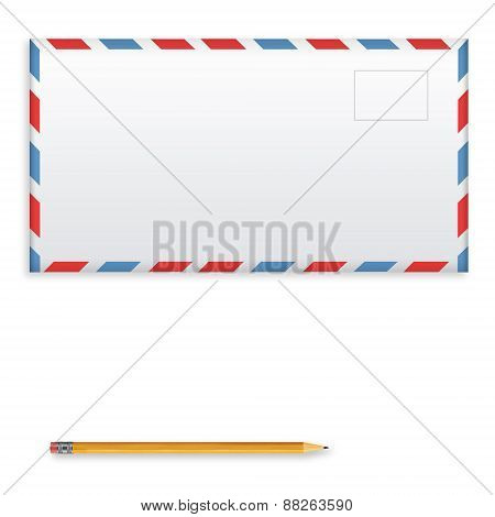 Post Envelope And Yellow Pencil Isolated On White Background.