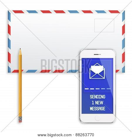 Post Envelope, Yellow Pencil And Mobile Smart Phone.
