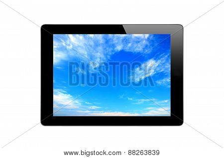 Black Touch Screen Tablet And Blue Sky