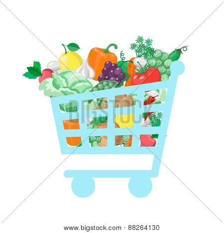 Shopping cart with  fresh and natural food  concept Vegetable and store, organic healthy, buy vitami